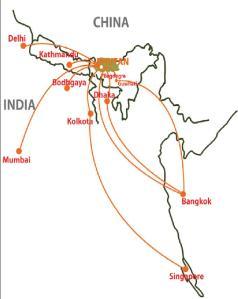 Conexiones internacionales de Druk Air